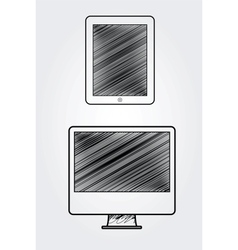 Hand drawn computer and tablet vector