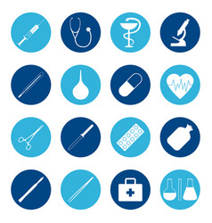 set of medical icons on color background vector image