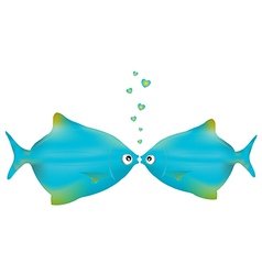 Kissing fishes vector