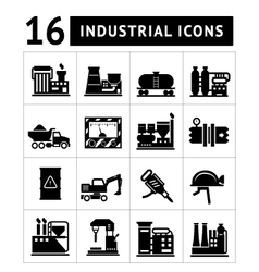 Industrial and factory icons set vector