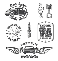 Set of vintage auto service labels vector