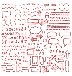 Huge set of red hand drawn elements vector image