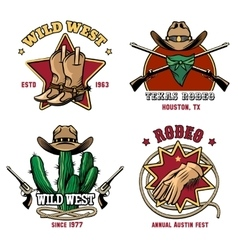 Retro cowboy rodeo emblem set vector
