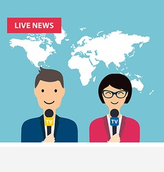 Female and male tv presenters sit at the table vector