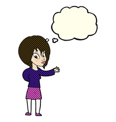 Cartoon woman making welcome gesture with thought vector