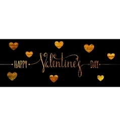 Gold textured happy valentines day inscription vector