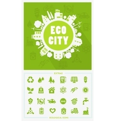 Cartoon eco city concept vector