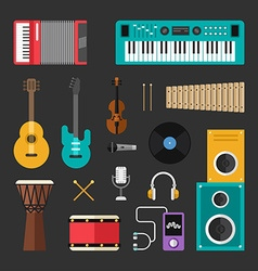 Set of flat style musical instruments and music vector