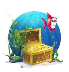 Chest of gold and fish in the sand underwater vector