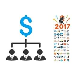 Banker links icon with 2017 year bonus symbols vector