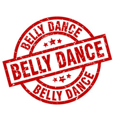 belly dance round red grunge stamp vector image