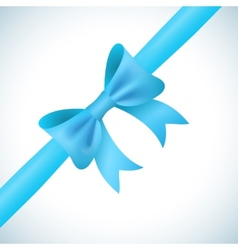 Big shiny blue bow and ribbon on white background vector image vector image