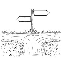 cartoon crossroad with empty direction sign with vector image vector image