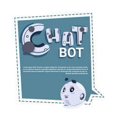 Chat bot cute robot template banner with copy vector
