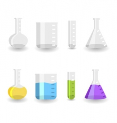 chemistry beakers vector image vector image