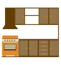 Color silhouette of kitchen cabinets with stove vector