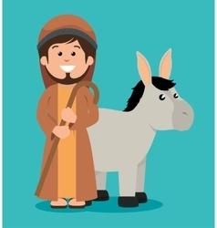 Cute joseph and donkey manger design vector