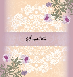 damask invitation card with purple flower vector image
