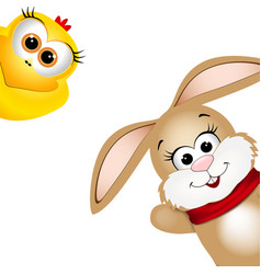 funny easter rabbit and yellow chicken vector image