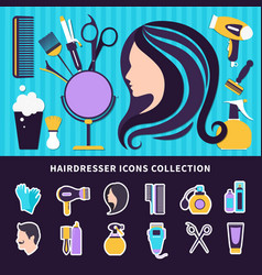 hairdresser colored composition vector image vector image