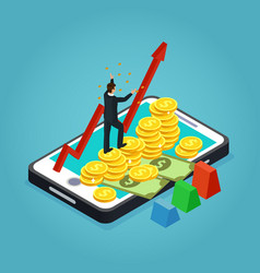 isometric financial development concept vector image vector image