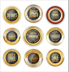 luxury gold and gray badges collection vector image vector image