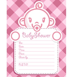 Pink Baby Girl Invitation vector image vector image