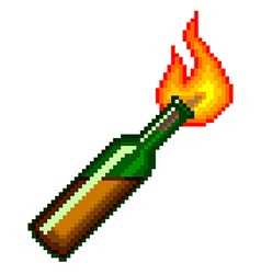 Pixel Molotov cocktail isolated vector image