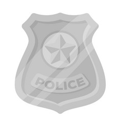 Police badge icon in monochrome style isolated on vector