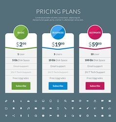 Pricing table in flat design style for websites vector