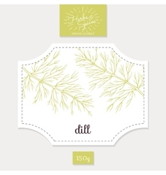 Product sticker with hand drawn dill leaves spicy vector