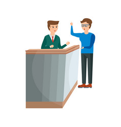receptionist serves client gives him key to room vector image