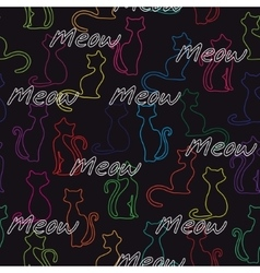 Seamless background with colorful cats vector image vector image