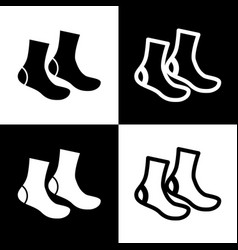 Socks sign black and white icons and line vector