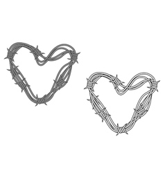 Steel heart in barbed wire vector image