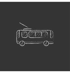 Trolleybus drawn in chalk icon vector