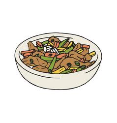 vintage of stir fry chicken vector image