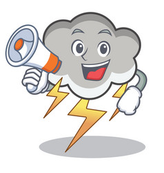 with megaphone thunder cloud character cartoon vector image