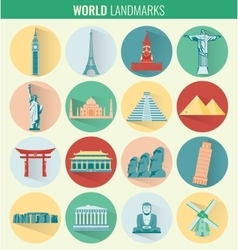 World landmarks flat icon set travel and tourism vector