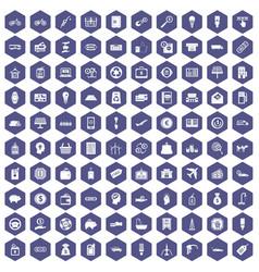 100 economy icons hexagon purple vector