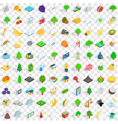 100 vital icons set isometric 3d style vector