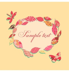 Vintage background with frame of patch leaves vector image