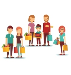 Woman and man going shopping with bags vector
