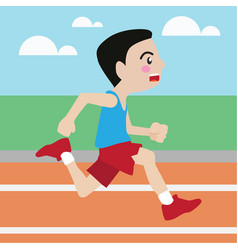 Running athletic sport cartoon set vector