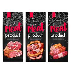 meat and sausages chalkboard banner template vector image