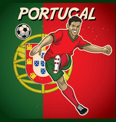 Portugal soccer player with flag background vector