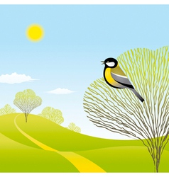Spring landscape with a bird vector