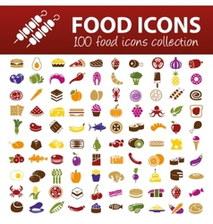 Hundred food icons vector