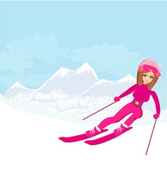 A young woman skiing down a snow covered mountai vector