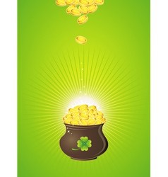 Pot with golden coins for st patricks day vector